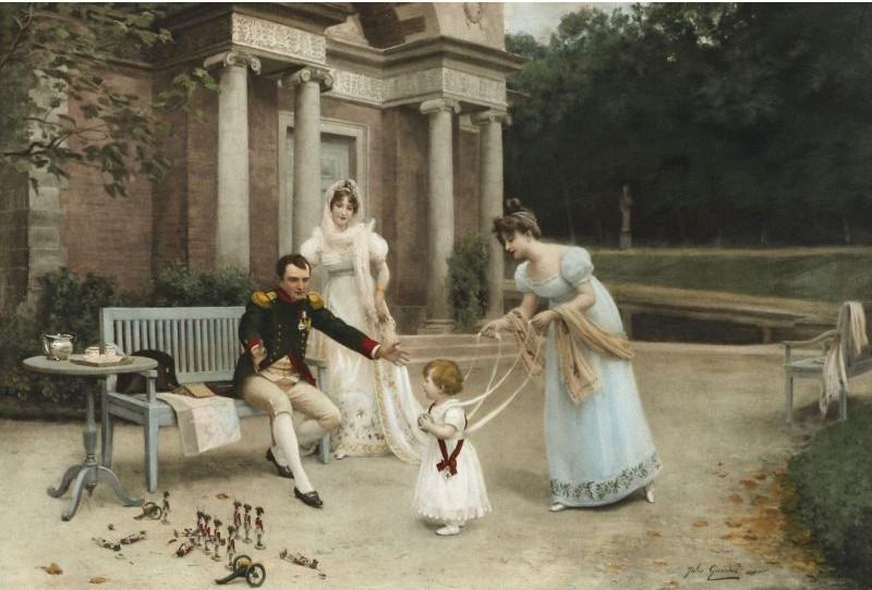 Rare Montre De Poche Movado En Or À Décor émaillé Figurant Napoléon Jouant Avec Le Roi De Rome -photo-3