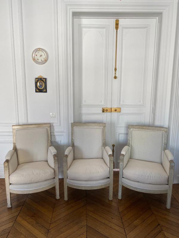ENSEMBLE DE 3 BERGÈRES ET 2 CHAISES D'ÉPOQUE EMPIRE Provenant du Château de Fontainebleau-photo-2