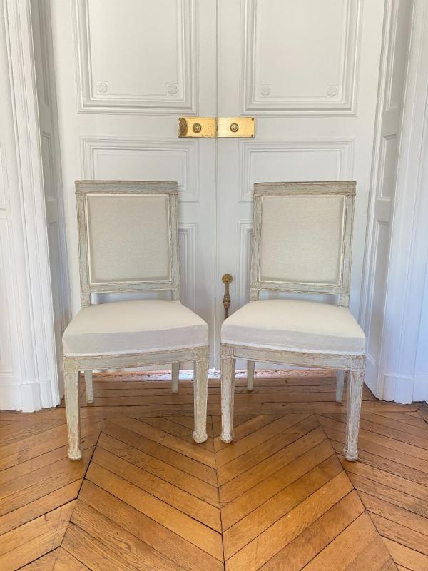 ENSEMBLE DE 3 BERGÈRES ET 2 CHAISES D'ÉPOQUE EMPIRE Provenant du Château de Fontainebleau-photo-4