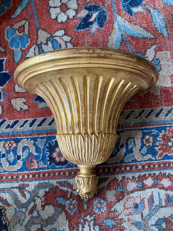 4 Consoles d'Appliques en bois doré De Style Louis XVI-photo-4