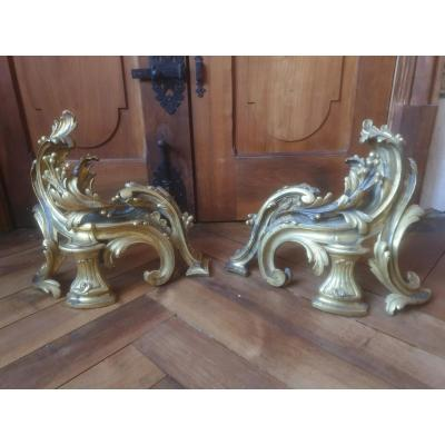 Pair Of Gilt Bronze Andirons Louis XV Period