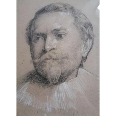 Drawing Old Portrait Of Flemish Man