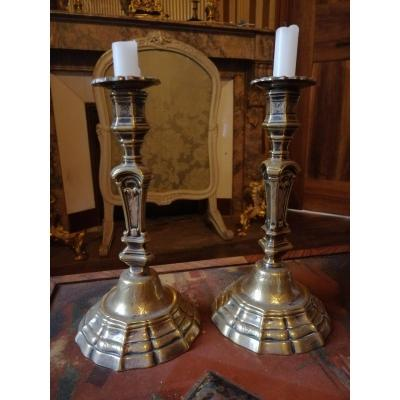 Pair Of 18th Century Torches In Silver Bronze