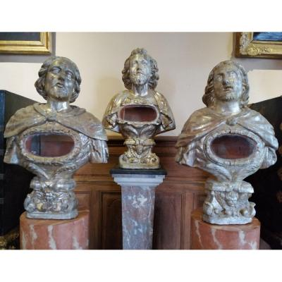 Rare Set Of Three Reliquary Busts