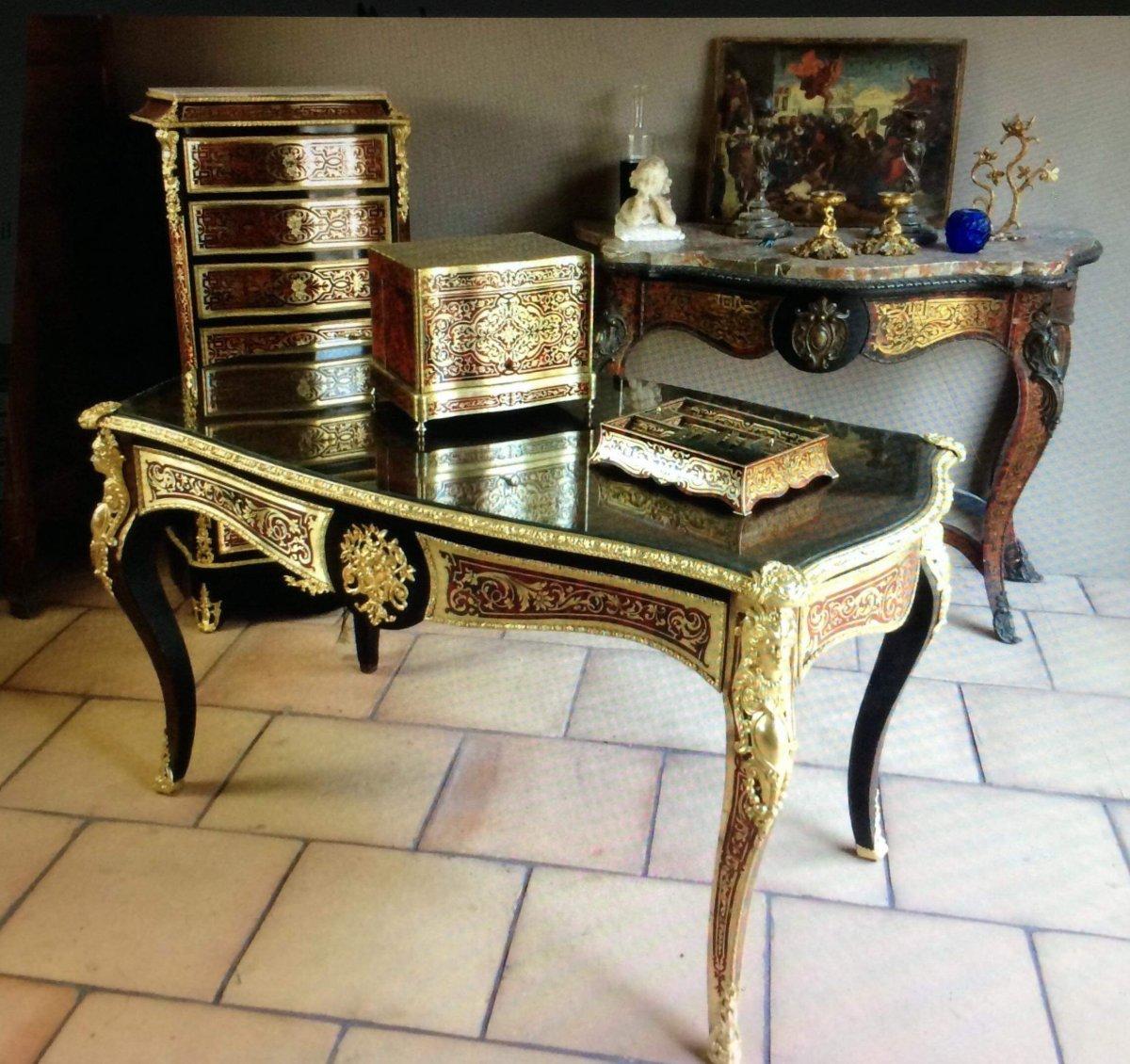 Bureau Plat En Marqueterie Boulle Napoleon III