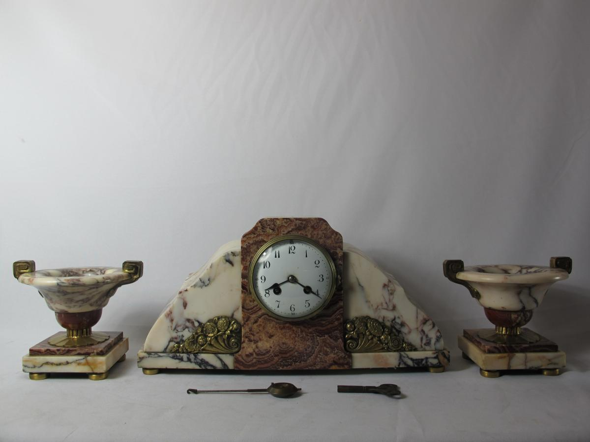 Clockset. Bronze And Marble