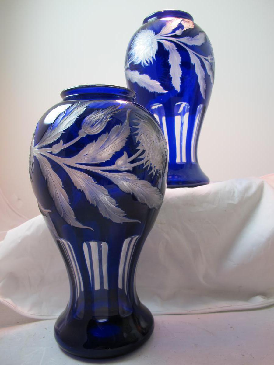2 Vases Hawkes Signé Palmer Et Hauptmann.