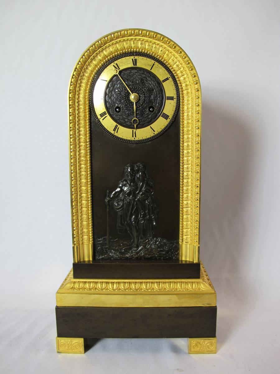 Pendule Borne Bronze Doré