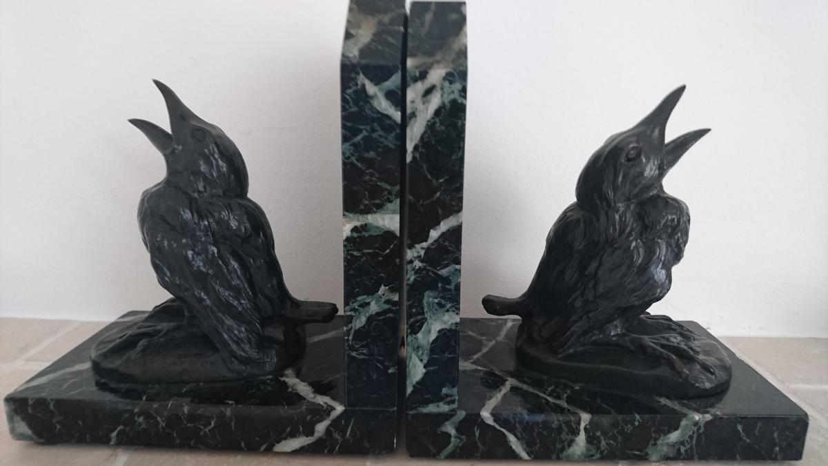 Bronze Bookends Signed E. Samson.