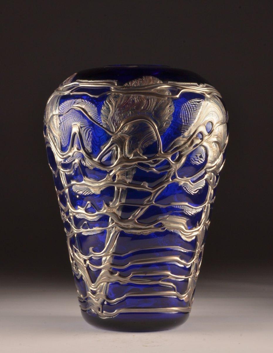 Grand Vase Cristal Bleu Et étain 48 Cm