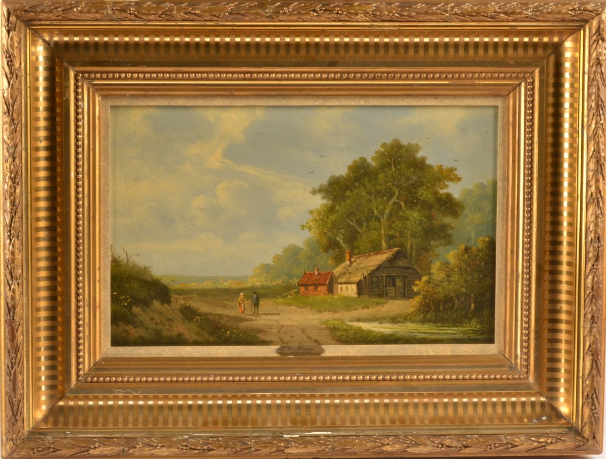 Dutch School Painting. Signed Gvh