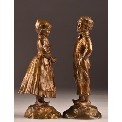Pair De Bronzes Par L.a. Monaco 1882-1937