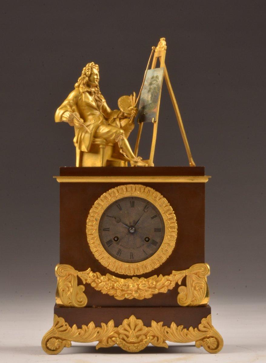 Pendule Bronze Doré.  Temps De l'Art.