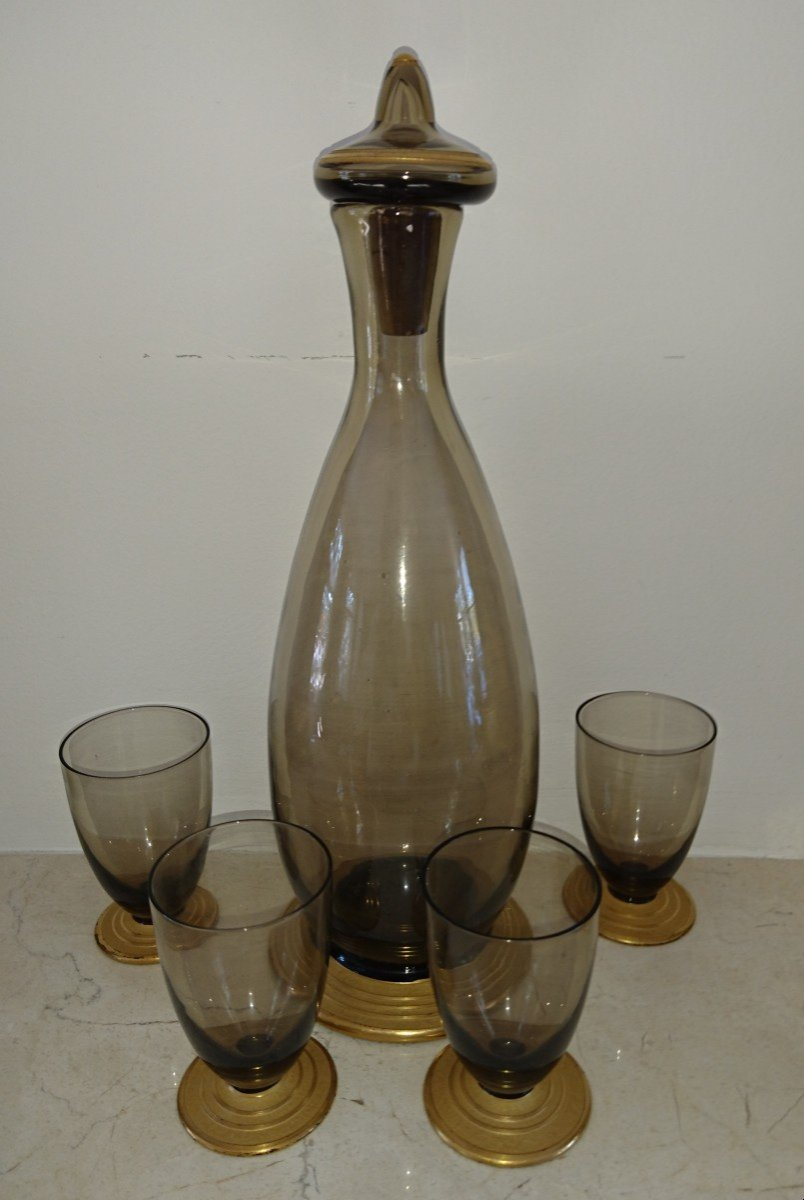Daum Set Of Crystal Glasses With A Carafe