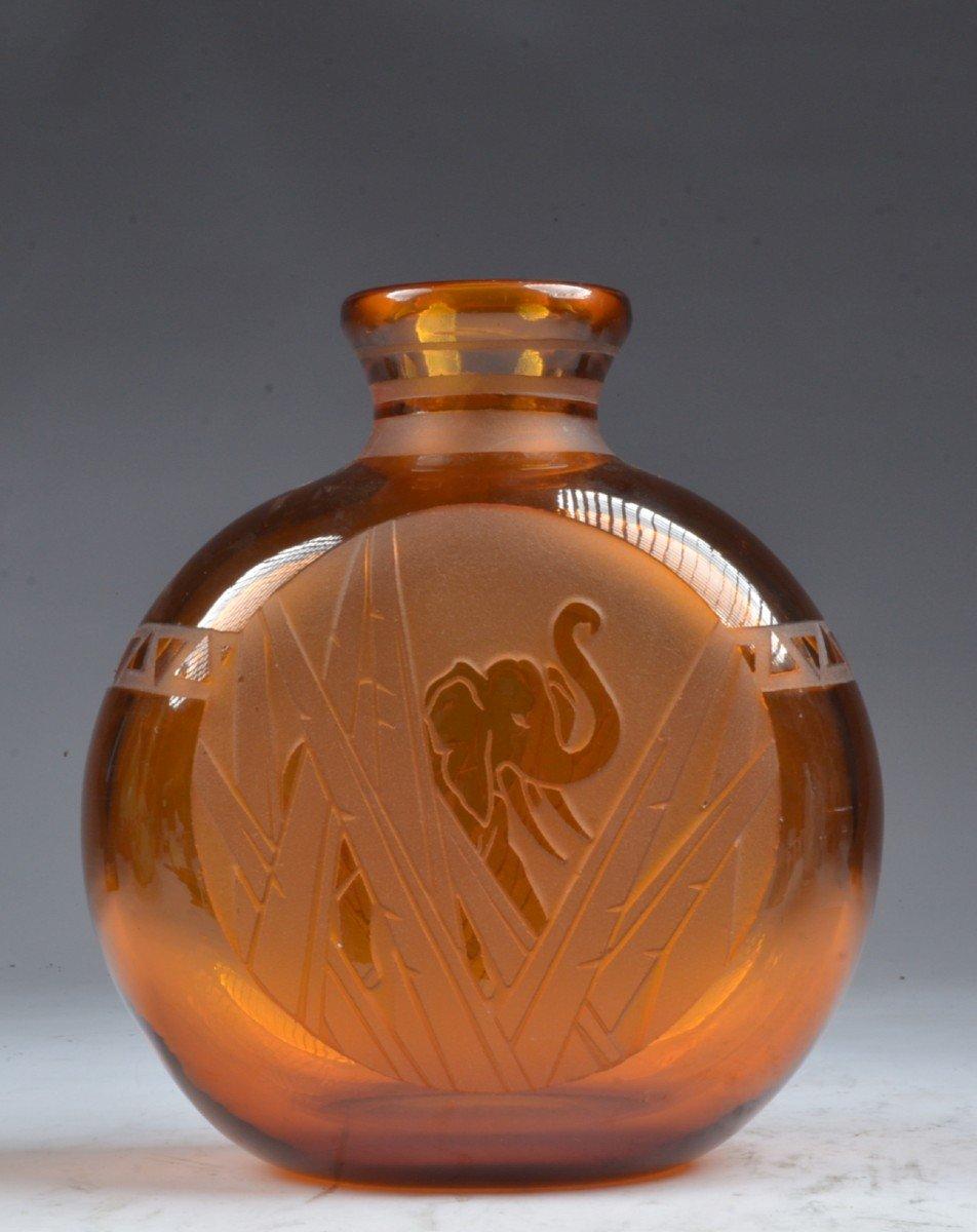 Vase Pelgrim Muller Freres Luneville éléphant Art Deco-photo-2