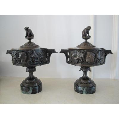 Pair De Cassolettes bronze