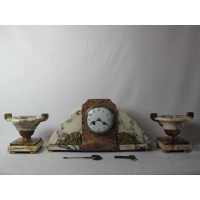 Garniture De Cheminée Bronze Et Marbre