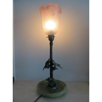 Lampe De Vienna. Bronze Et Verre. Signé.