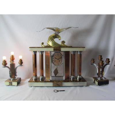 Garniture De Cheminée. Bronze Et Onyx. Bronze Signé Decoux.