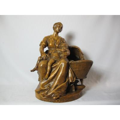 """Sculpture Terre Cuite. Signé V. E. Deplechin. (1852-1926)  """"le Petiit Quin Quin""""."""