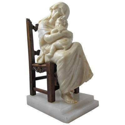 Statue Albâtre, Marbre Et Bois. C. 1860. Signé Gregoire.