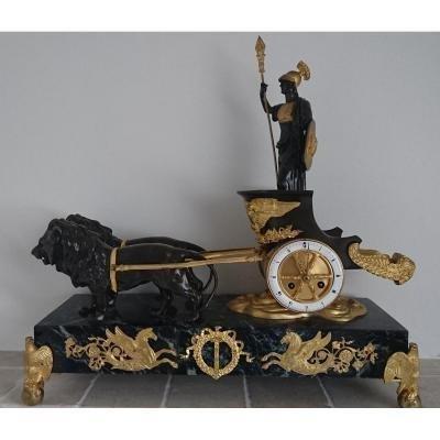 Pendule Au Char En Bronze Doré Style Empire XIXème