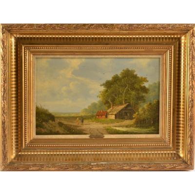 Peinture Ecole Hollandais. Signé G.v.h.