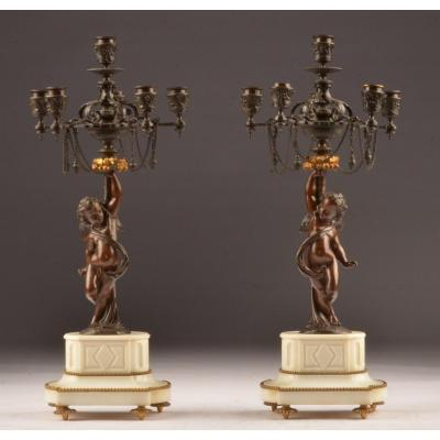Pair Of Candelabra Bronze And Marble.