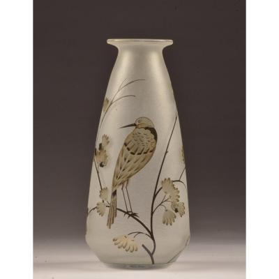 Daum Nancy Vase. Finches. H 36.5 Cm. Around 1928