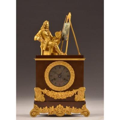 Gilt Bronze Clock The Time Of Art.