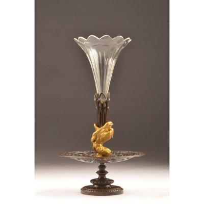 Center Piece. Gilded Bronze And Crystal Centerpiece