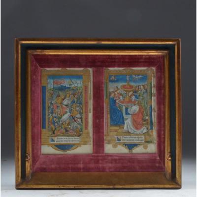 Deux Pages d'Enluminure Vers 1520 16e siècle.