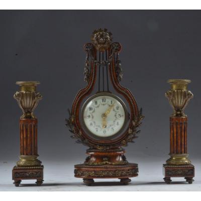Clockset Bronze And Burlwood