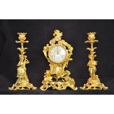 Gilt Bronze Clock Set.