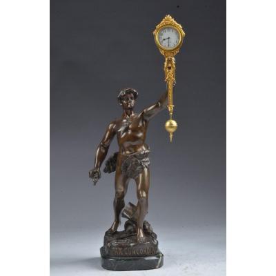 Bronze Pendule Pax Concordia.  Mystérieuse Henri fugère