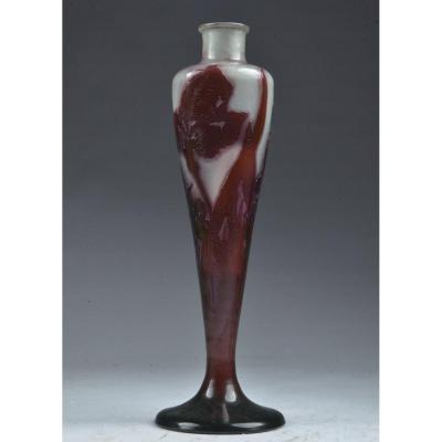 Vase Signed Gallé. Iris. H. 48.5 Cm