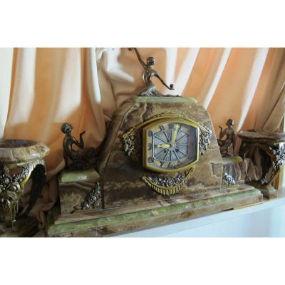 Garniture De Cheminée Bronze Doré  Marbre Onyx Art Deco