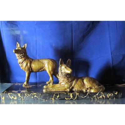 Bronze dogs by D. H. Chiparus. Art Deco period statue of two dogs.