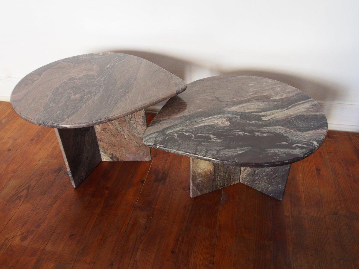Set De 2 Tables Basses En Marbre