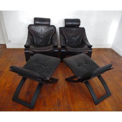 Pair Of Scandinavian Armchairs And Footrests
