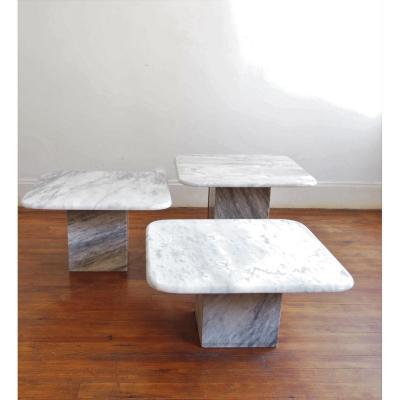Set De 3 Tables Basses En Marbre