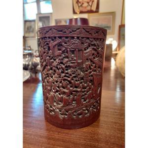 Pot à Pinceau En Bambou Fin XIXe Chine