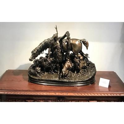 Bronze de Chasse en Écosse MENE PJ Chien Cheval Renard