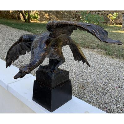 Sculpture Vautour Bois Bolle-reddat 1948 Oiseau Chasse