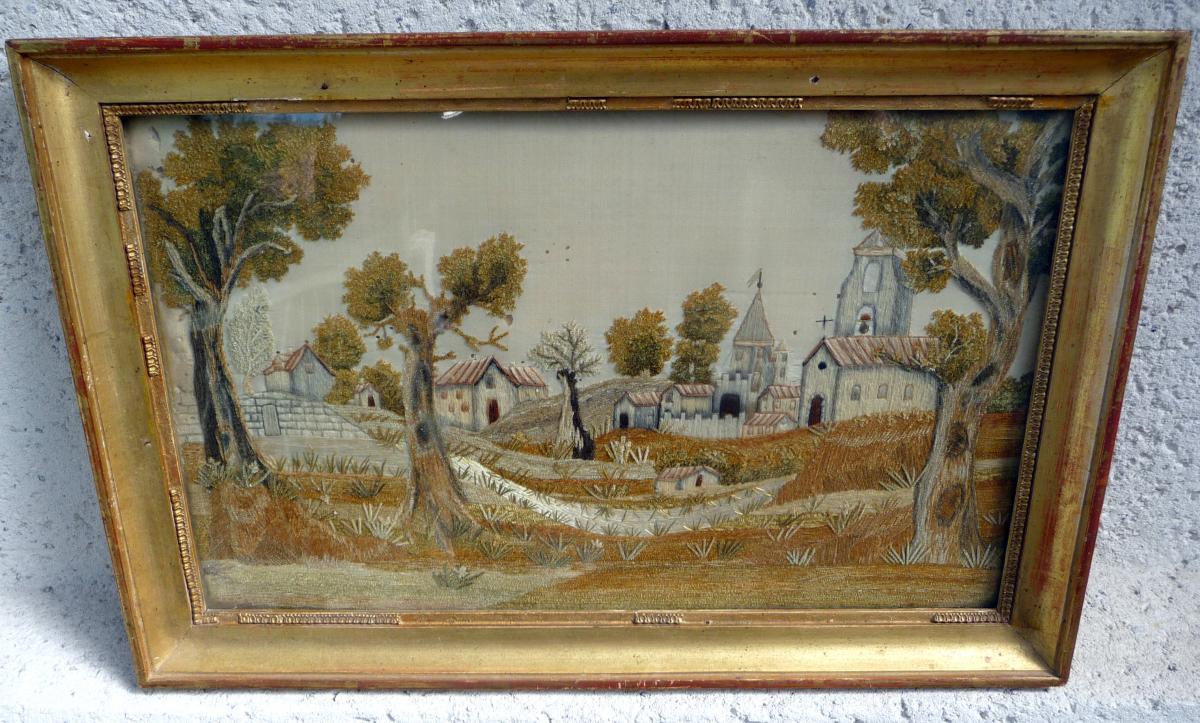 """Broderie Au Point Lancé et chenillé  """" Village """""""
