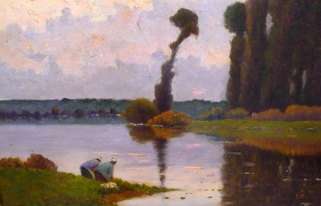Delpy Jacques Henri (1877-1957) Lavandières Soleil Couchant Sur La Seine