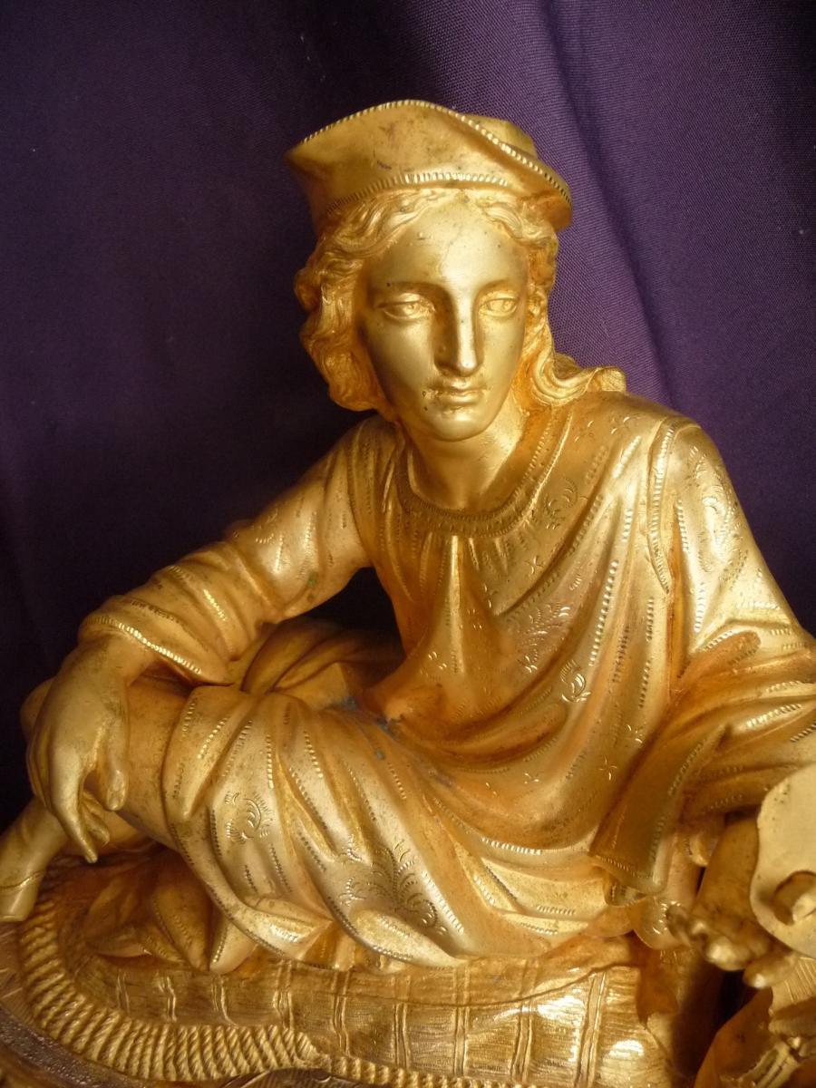 Pendule En Bronze Et Régule Doré Et Son Globe En Verre