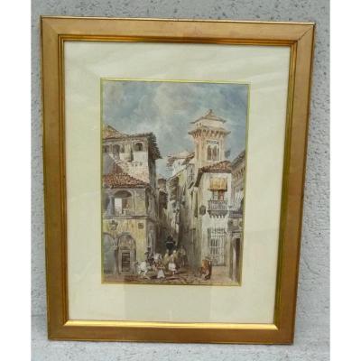 "Aquarelle "" Portugal ""  Stanislas Gorin 1824.1874 bordeaux"