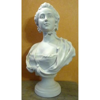 Buste De Jeune Femme En Biscuit De Sèvres