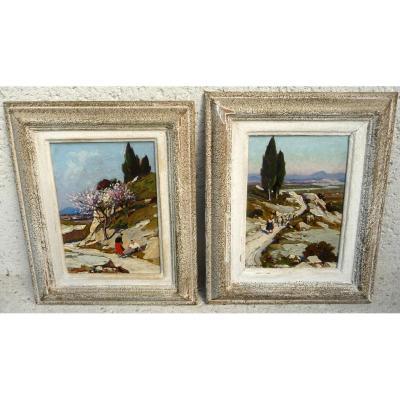"""Deux Tableaux En Pendant """" Paysage De Provence """""""